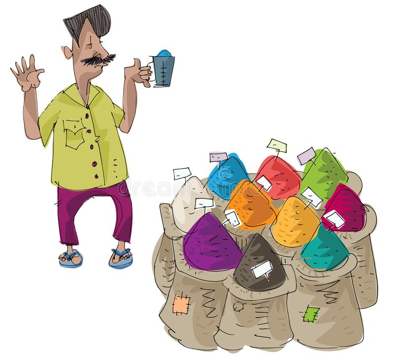 A street vendor sels indian colored spices. Cartoon.Caricature vector illustration