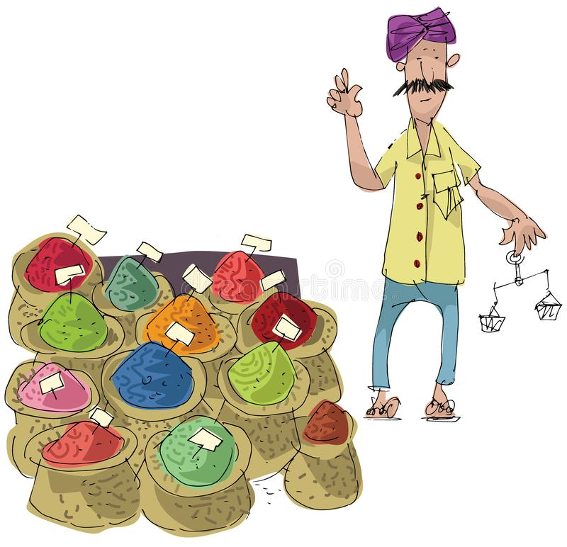 A street vendor sels indian colored spices. Cartoon.Caricature stock illustration