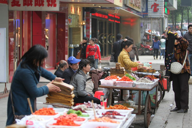 Street Vendors in China royalty free stock image