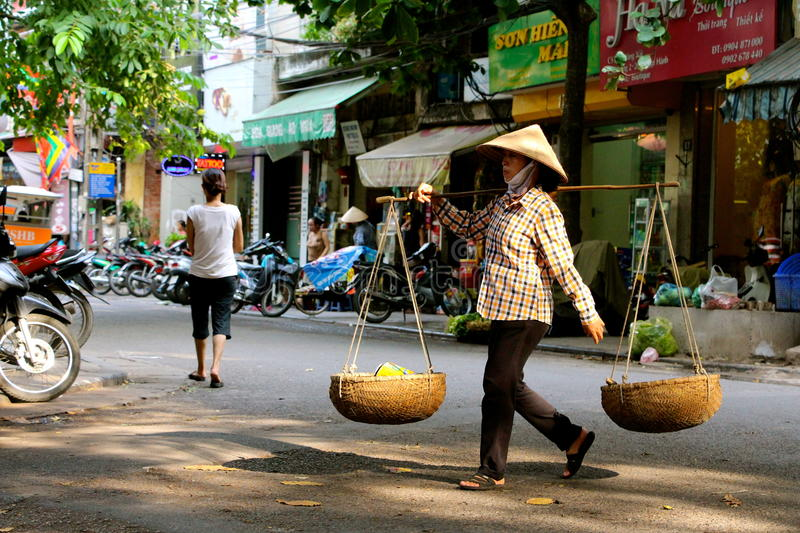 Street vendors Hanoi. Busy street vendors Hanoi Vietnam royalty free stock image