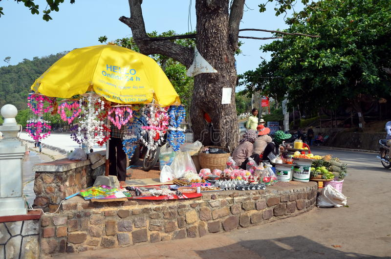 Street vendors. KEP, CAMBODIA, MARCH 28, 2015- Street vendors in Kep town, Cambodia royalty free stock photo