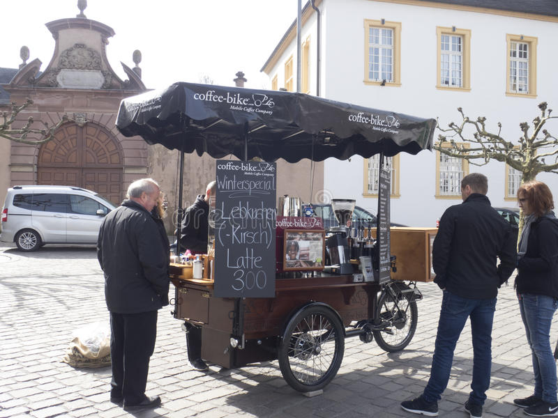 Street vendors near the Cathedral of Trier stock images