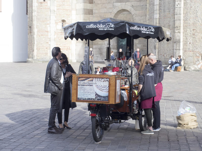 Street vendors near the Cathedral of Trier royalty free stock photos