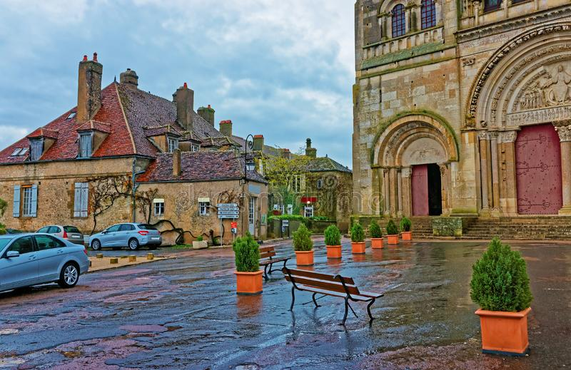 Street at Vezelay Abbey of Bourgogne Franche Comte of France. Street at Vezelay Abbey in Avallon of Yonne department in Bourgogne Franche Comte region of France stock images