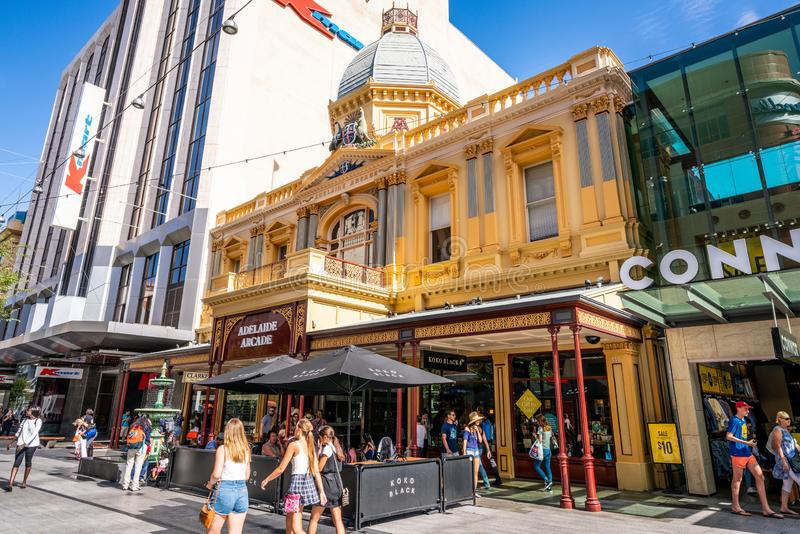 Street view of Adelaide arcade main entrance on Rundle mall pedestrian street in Adelaide SA Australia royalty free stock photography