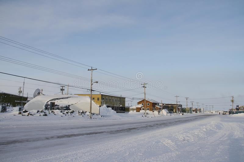 Street view of an arctic community and neighbourhood, located in Arviat. Nunavut Canada royalty free stock photos