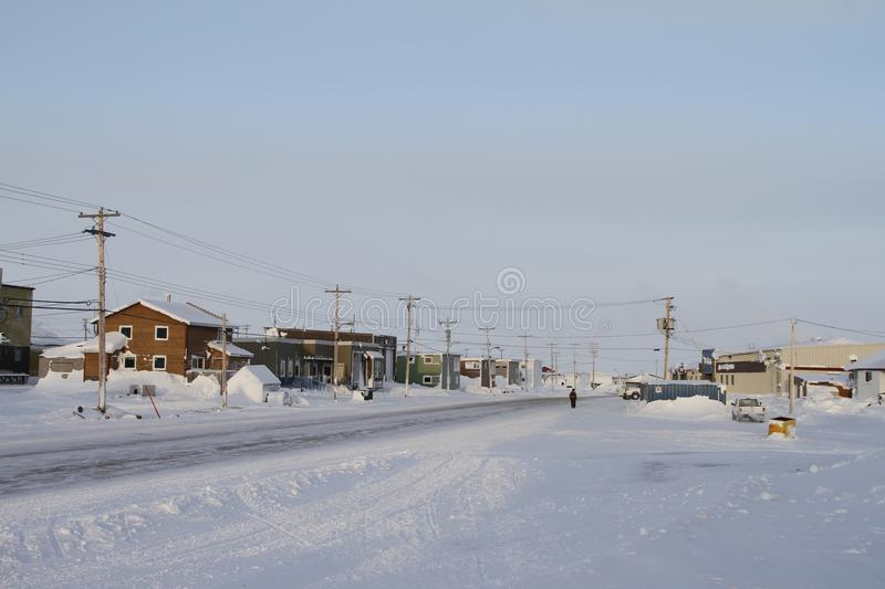 Street view of an arctic community and neighbourhood, located in Arviat. Nunavut Canada stock images