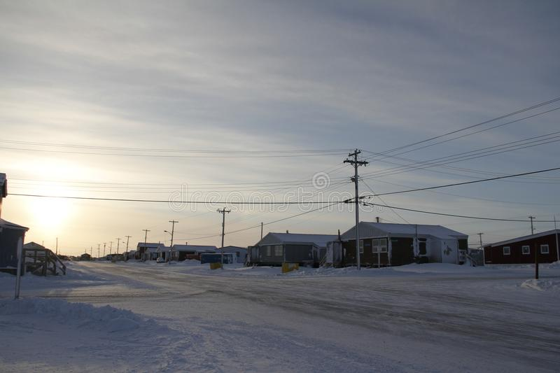 Street view of an arctic community and neighbourhood, located in Arviat. Nunavut Canada stock photography