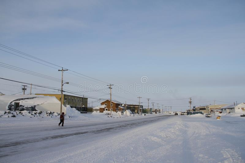 Street view of an arctic community and neighbourhood, located in Arviat. Nunavut Canada stock image