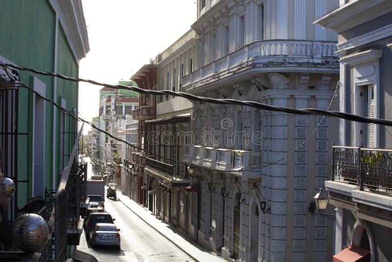 Street View av gamla San Juan, Puerto Rico fotografering för bildbyråer