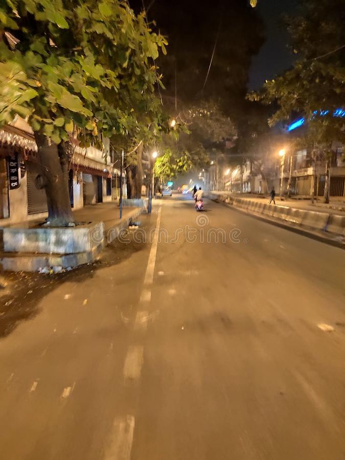 Street view. Street . banglore night mode royalty free stock photography
