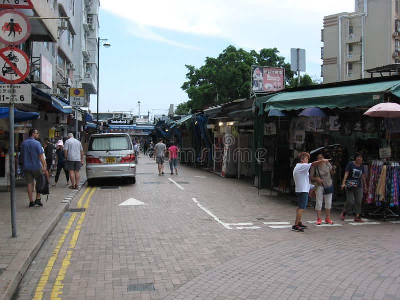 Street view of Stanley market, Stanley, Hong Kong stock images