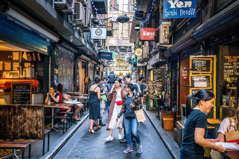Street view of Centre Place an iconic pedestrian laneway with cafe and people in Melbourne Australia stock photo