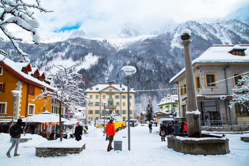 Street view in Chamonix town, French Alps, France royalty free stock photo