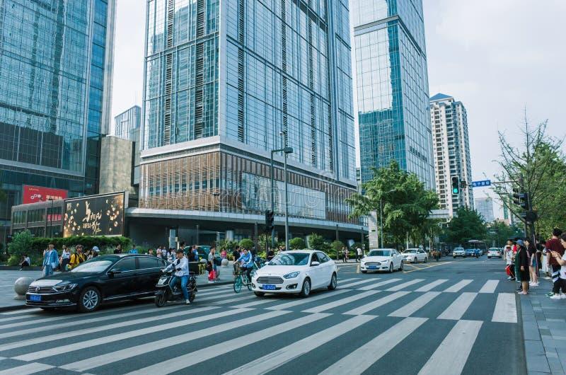 Street view in Chengdu downtown, China. Chengdu, Sichuan / China - May 22, 2019: street view of Chunxi road in Chengdu modern city in Sichuan China stock image