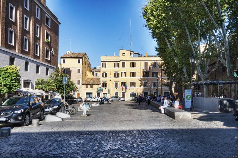 Street view of Città Leonina s Square located near Vatican wall. Rome,Italy- July 19, 2018:Street view of Città Leonina s Square located near Vatican walls royalty free stock image