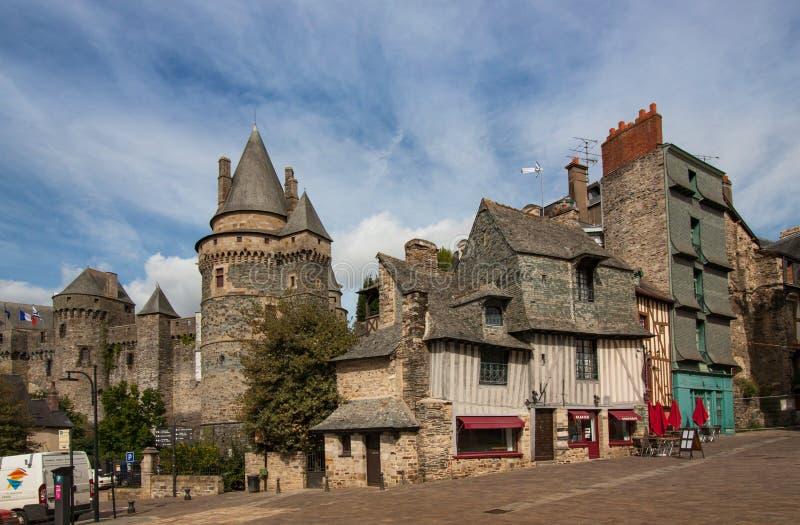 Street View de Chateau de Vitre, Vitre, France photo stock
