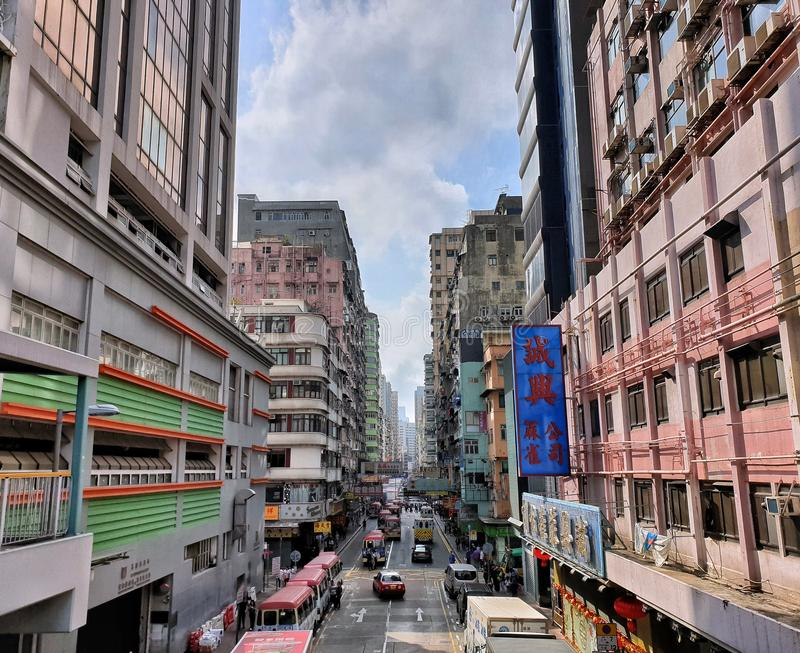 Street View de matin de Mong Kok, Hong Kong photos stock