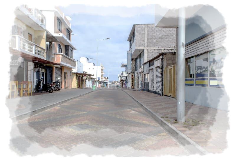 Street View de Puerto Baquerizo Moreno en San Christobal Ecuador Pintura de dibujo de Digitaces fotos de archivo libres de regalías