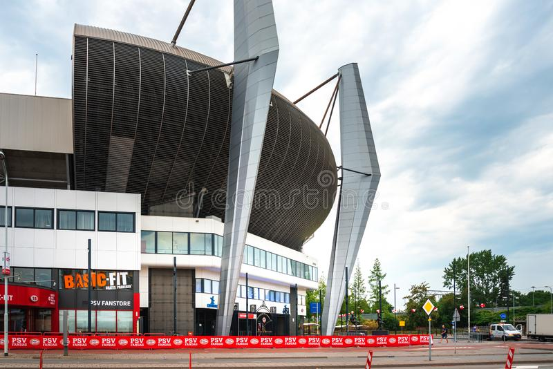 Street view of Downtown Eindhoven, Netherlands. EINDHOVEN, NETHERLANDS - JULY 27, 2018 : Philips Stadion is a football stadium in Eindhoven royalty free stock photos