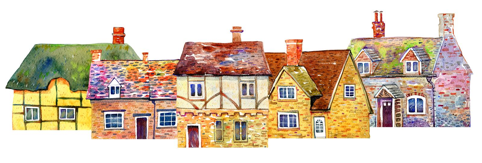 Street view with English village buildings in row. Watercolor old stone europe houses. Hand drawn illustration royalty free stock image