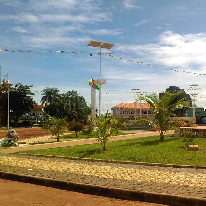 Street view in Guinea Bissau town. Clear, sky, travel, africa, landscape, city, center, centre, placws, places stock photo