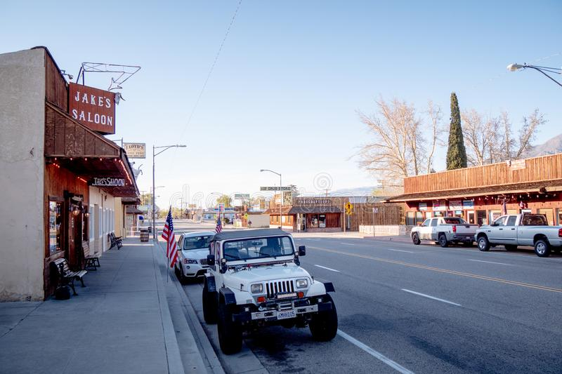 Street view in the historic village of Lone Pine - LONE PINE CA, USA - MARCH 29, 2019. Street view in the historic village of Lone Pine - LONE PINE CA, UNITED stock photography