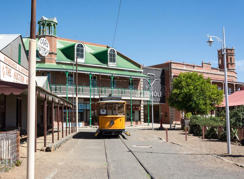 Street view of historical town. View of vintage tram and old buildings at Big Hole museum town stock images