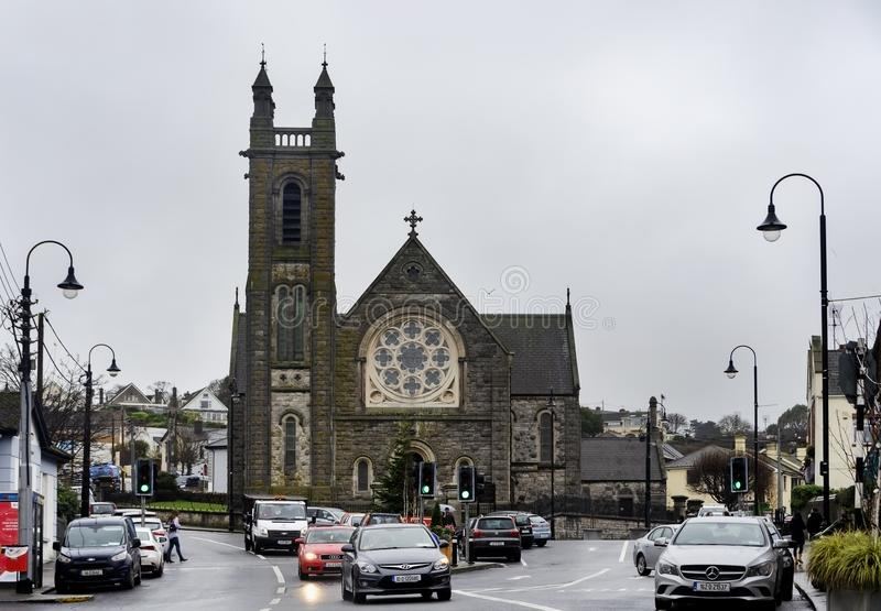 Street view of Howth Parish Church, Dublin stock images