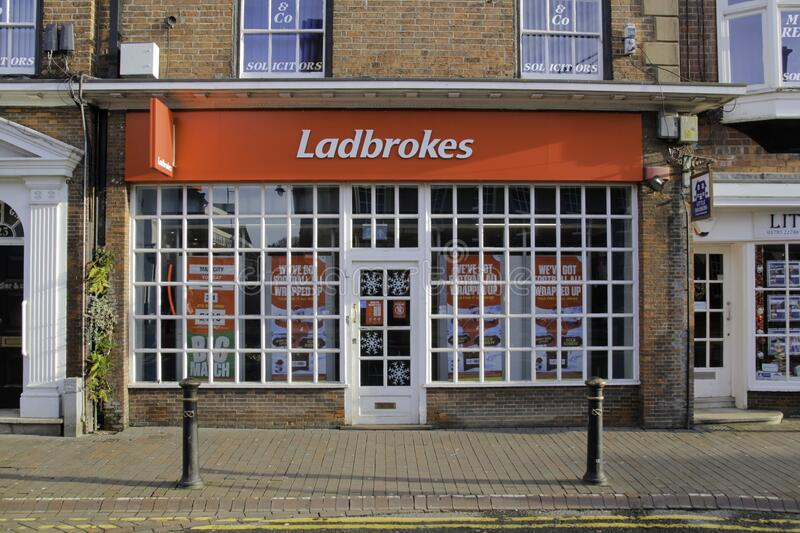 Street view of a Ladbrokes betting shop. STAFFORD, UNITED KINGDOM - Dec 28, 2019: Street view of a Ladbrokes betting shop. Ladbrokes Coral is a British betting stock photo