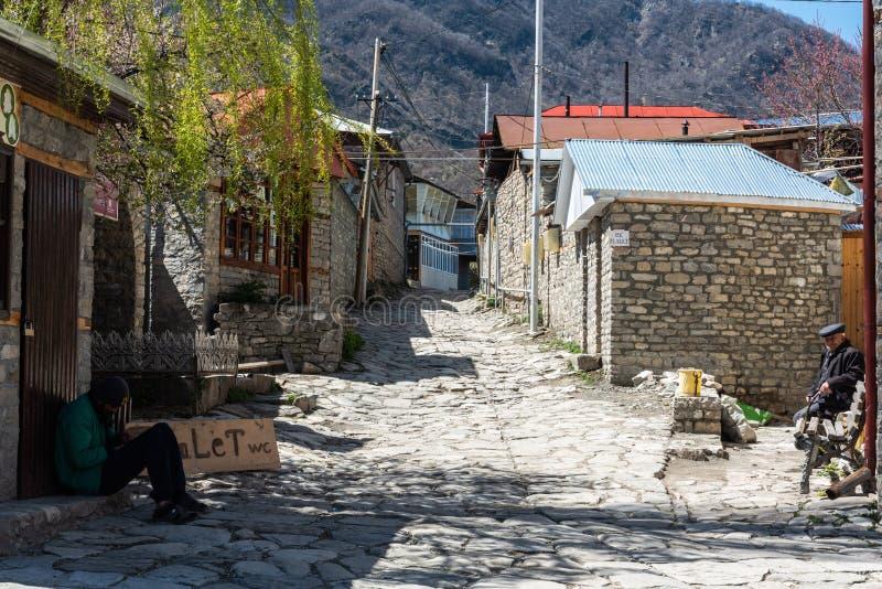 Street view in Lagic village in Ismayilli region of Azerbaijan. Lahic, Ismayilli region, Azerbaijan - April 28, 2019. Street view in Lagic village in Ismayilli royalty free stock photo