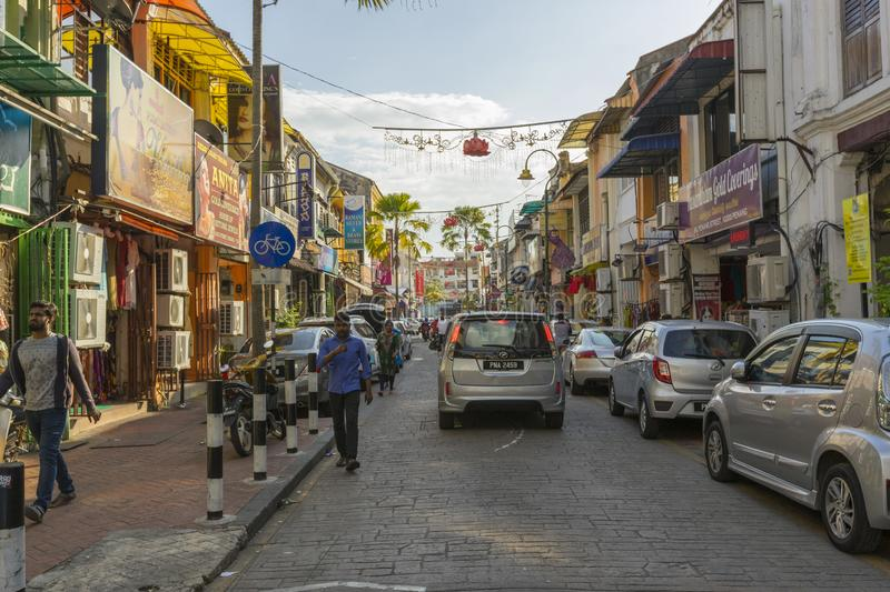 Street view of little India in Georgetown in Penang, Malaysia royalty free stock image