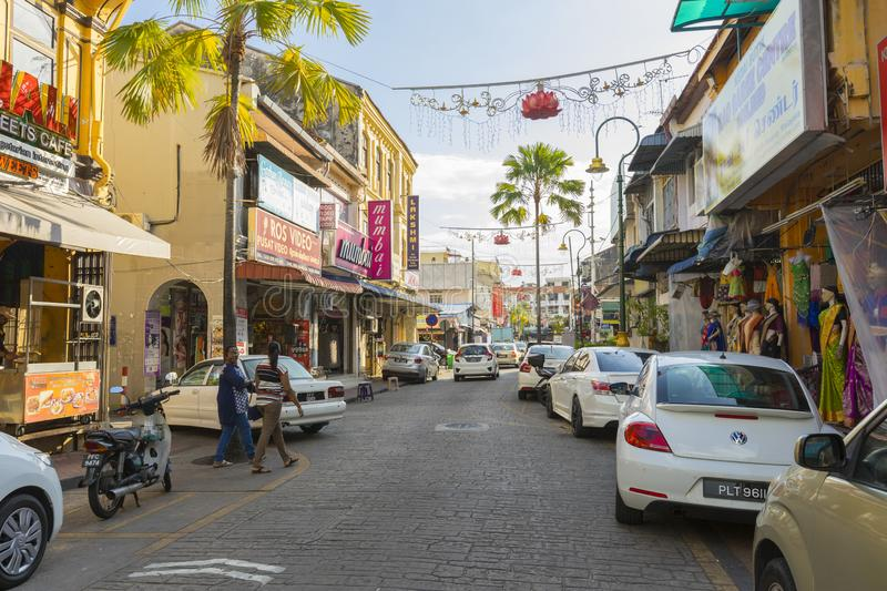 Street view of little India in Georgetown in Penang, Malaysia royalty free stock photos