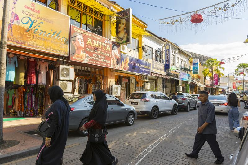 Street view of little India in Georgetown in Penang, Malaysia stock image