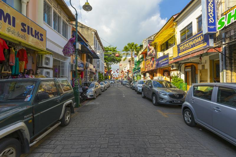 Street view of little India in Georgetown in Penang, Malaysia stock images
