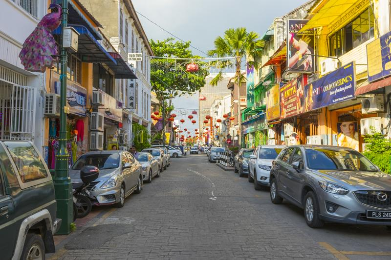 Street view of little India in Georgetown in Penang, Malaysia stock photography