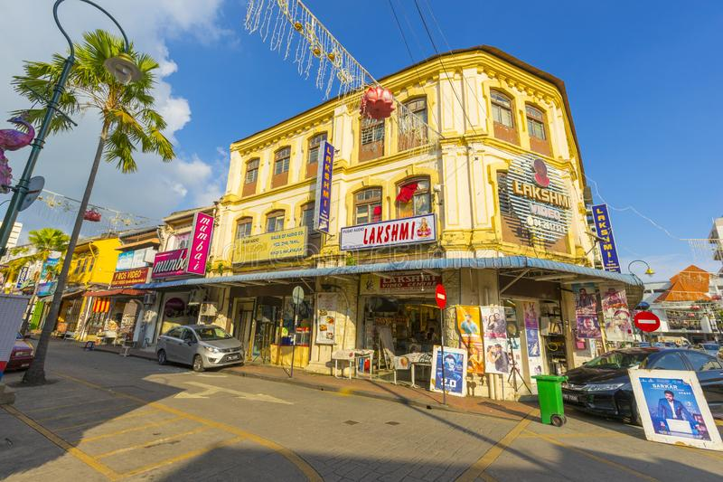Street view of little India in Georgetown in Penang, Malaysia stock photo