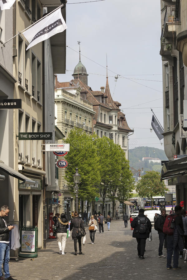 Street view of Lucerne stock image