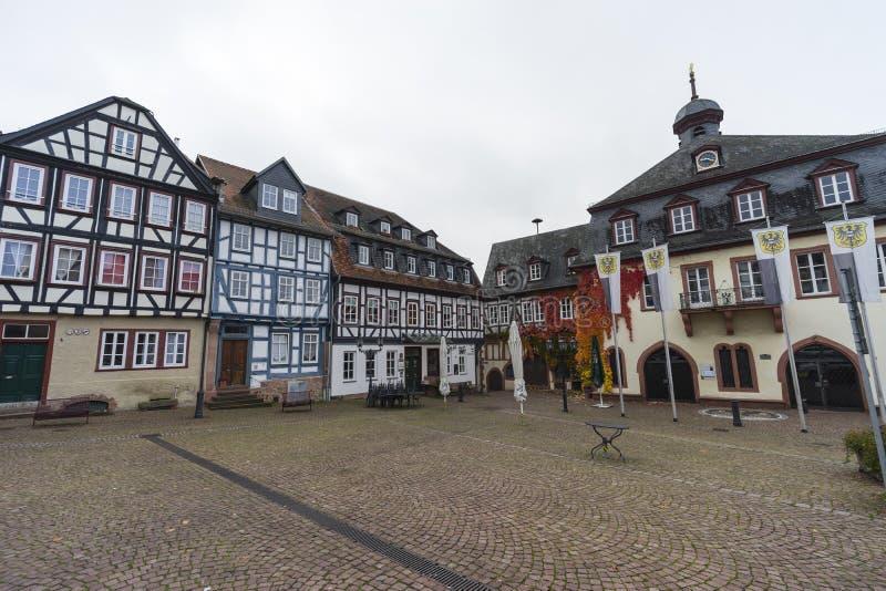Street view of a medieval town Gelnhausen. royalty free stock photo
