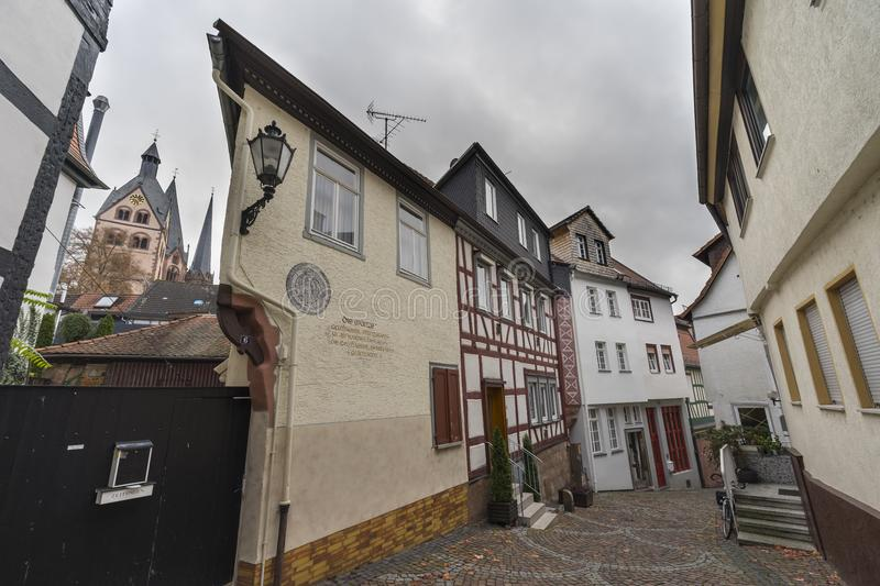 Street view of a medieval town Gelnhausen. stock photography