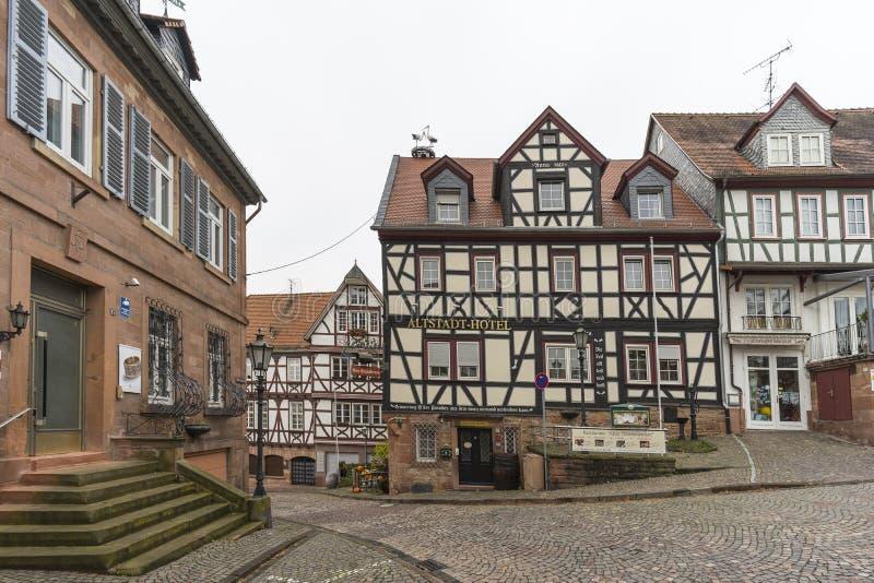 Street view of a medieval town Gelnhausen. royalty free stock photos