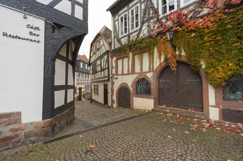 Street view of a medieval town Gelnhausen. stock images