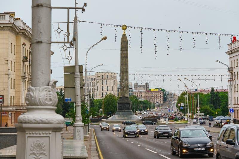 Minsk, Belarus, Victory Square and Victory Square Obelisk, Minsk, Capital of Belarus, 06/11/2018. Street View of Minsk City,the capital of Belarus royalty free stock image