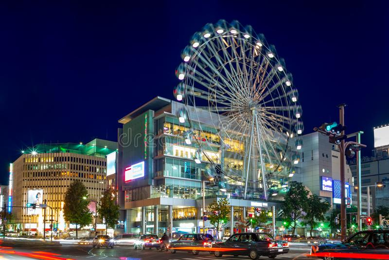 Street view of nagoya with ferris wheel in japan. Nagoya is the largest city in the Chūbu region of Japan. It is Japan`s fourth-largest incorporated city and stock photo