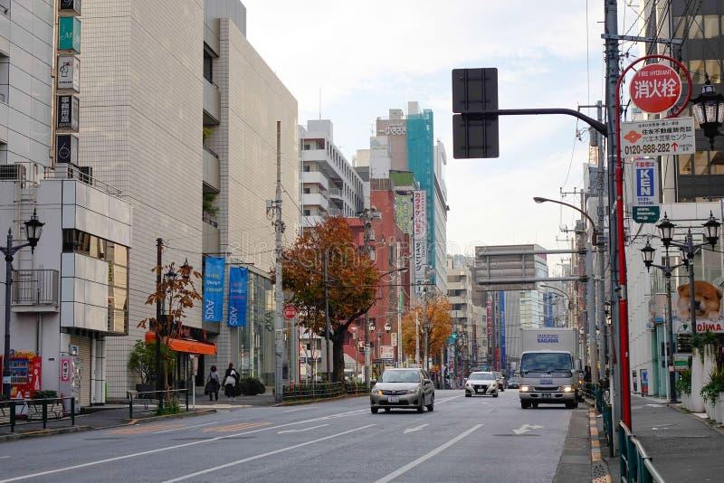 Street view in Nagoya, Japan. Cars run on street in Nagoya, Japan royalty free stock photos
