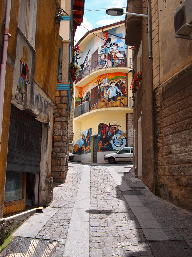 Street view with wall paintings in Orgosolo royalty free stock image