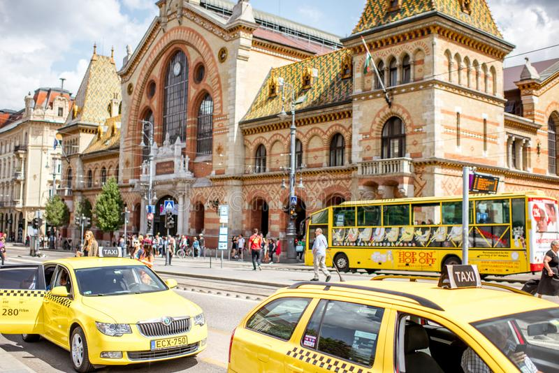 Street view near the Great Market Hall in Budapest royalty free stock photography