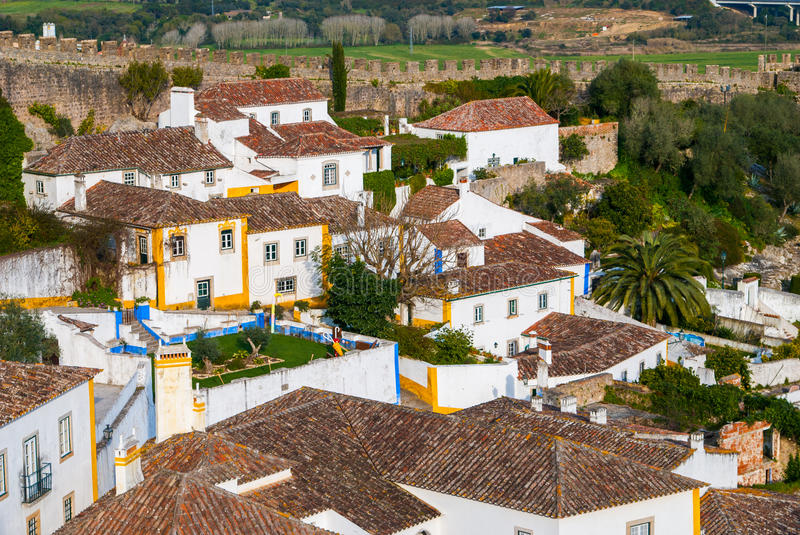 Street view of Obidos - Portugal stock photo