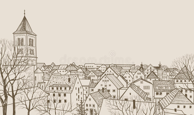 Street view in old european city. Retro cityscape - houses, buildings, tree on alleyway. Street cafe in old city. Cityscape - houses, buildings and tree on royalty free illustration