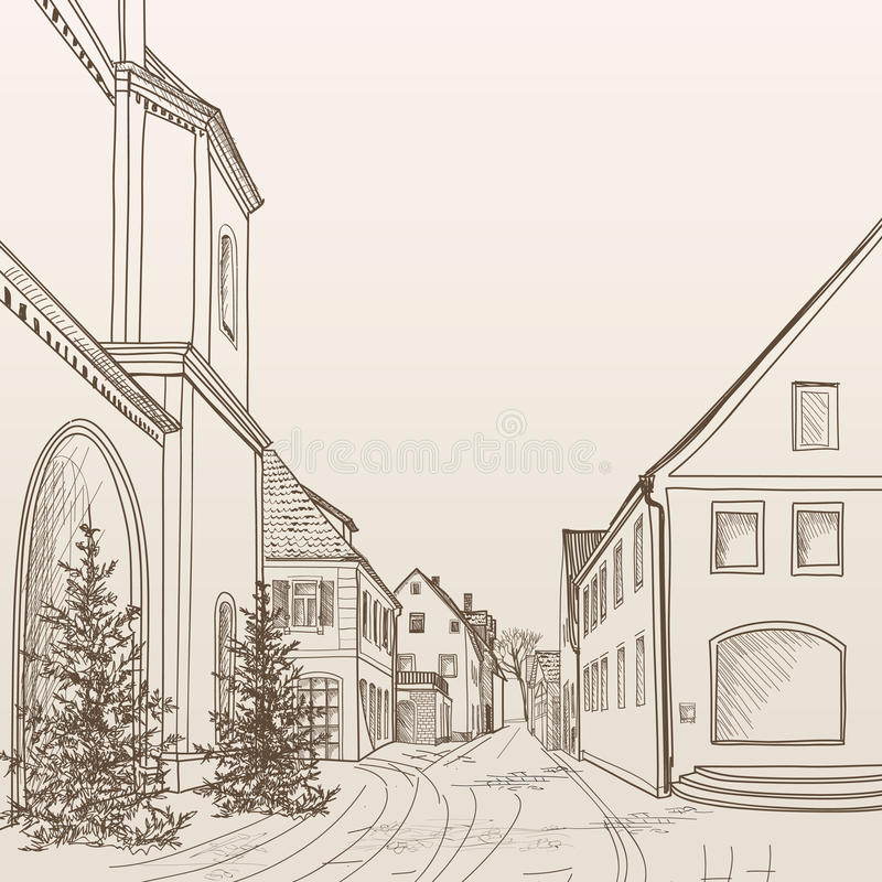 Street view in old european city. Retro cityscape - houses, buildings, tree on alleyway. Street cafe in old city. Cityscape - houses, buildings and tree on stock illustration